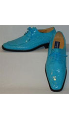 SKU#QY40L Mens Gorgeous Shiny Turquoise Blue Faux Croco Dress Shoes $99