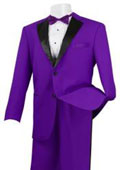 Men's Stylish 2 Button Tuxedo Suit Purple and Black