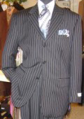 SKU GTL754 Mens 3 piece Navy Blue Pinstripe Vested Super 120s Wool Italians 3 Button 165