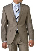 SKU#HW038 Professional Tan ~ Beige~Taup Mini Pindots Teakweave Nailhead Salt & Pepper Birdseye Patterned 2 Btn Summer Suit