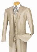 SKU#KL12Z Modern Gloss Shiny Sharkskin MetallicSuit champagne