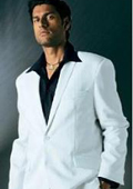 White Suit With Flat Front No Pleat Pants With Free Matching black shirt (picture) $149