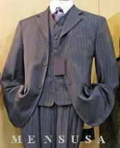 SKU#D63TRS Mens Grey Stripe ~ Pinstripe 3 buttons High Vested 3 Piece Rayon/Visouse Dress three piece suit in 3 Colors