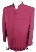 MEN's. MANDARIN COLLAR SUIT Burgundy ~ Maroon ~ Wine Color~Maroon $149