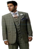 SKU#AA348 Men's Window Pane Plaid Pattern Vested 3 Piece Suits Brown $170