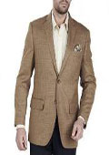 SKU#AA360 Authentic Mantoni Brand Solid 2 Button 100% Wool Mens Blazer With brass buttons Mens Jacket SportCoat Camel Tweed $139