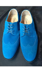 SKU#AB150 Mens Dress Wingtip Suede Velvet Touch Shoes For Men Turquoise ~ Royal Blue $89