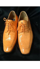 SKU#RR454 Mens Peach ~ Mango ~ Rust ~ Copper Exotic Skin Alligator Print Dress Shoe$99
