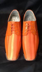 SKU#HU692 Mens Orange ~ Peach Stage Party Classic Oxford Striped Satin Dress Shoes $99