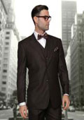SKU#DS326 2 Button vested 3 Piece Window Pane Plaid Pattern Pleated Pants 100% Wool Suit Brown $170
