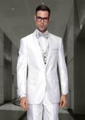 SKU#AA402 Mens Sharkskin Shiny Flashy 1 Button Shawl Collar Two toned Black Lapel Vested 3 Piece Dinner Jacket Blazer Sport Coat + Pants White