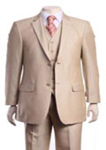 SKU#AA403 Men's Ivory Tonal Stripe ~ Pinstripe Sharkskin Champagne 2 Button 3 Piece Modern Fit Vested Suit