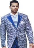 SKU#SW920 Shiny Sharkskin Flashy Tuxedo Looking Peak Lapel Blazer + Pants Stage Suits Peak Lapel paisley satin Sport coat Blue $165