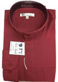 SKU#AA411 Men's Dress Shirt with Mandarin Collar Burgundy,White