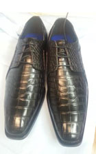 SKU#AA420 Mens Dress Exotic Skin Alligator Crocodile Print Black Shoes $75