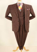SKU#MK147 Mens Wide Leg Pleated Pants Vested 3 Piece 100% Real Wool Super 150's 2 Two Buttons Plaid Suit Brown $175