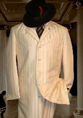 Tonal Shadow Pinstripe Ton on Ton Tuxedo Ivory OFF White