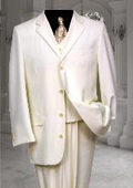 Ivroy~Cream~OFF White Tuxedod 4 Button Vested 3 Pieces $175