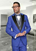 Men's Natalie-2 3 Piece 1 Button Royal Suit With Satin Collar And Trim On The Pocket With Fancy Woven Vest Set & Matching Bow Tie