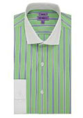 SKU#MK302 Men's The Bentley Slim Fit Cotton Dress Green/Stripe Shirt