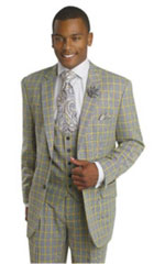 SKU#MK314 Mens Ticket Pocket Plaid Window Pane Vested 3 Piece Suit Pleated Pants Yellow $175