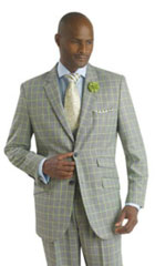 SKU#MK315 Mens Ticket Pocket Plaid Window Pane Vested 3 Piece Suit Pleated Pants Lime $175