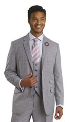 SKU#MK316 Mens Ticket Pocket Plaid Window Pane Vested 3 Piece Suit Pleated Pants Lavender $175