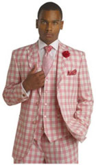SKU#MK326 Mens Bold Plaid Window Pane Vested 3 Piece Suit Pleated Pants Pink $175