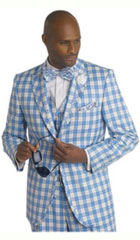 SKU#MK327 Mens Bold Plaid Window Pane Vested 3 Piece Suit Pleated Pants Ocean $175