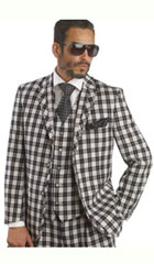 SKU#MK328 Mens Bold Plaid Window Pane Vested 3 Piece Suit Pleated Pants Black $175