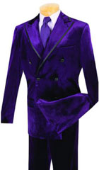 SKU#MK401 Vinci Mens Purple Velvet 2 Piece Double Breasted Suit $139