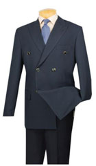 SKU#MK404 Lucci Mens Navy 6 Button Double Breasted Blazer