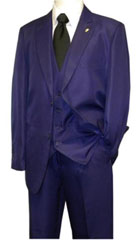 Mens Falcone 3 Piece Fashion Suit Vett Vested Solid Purple