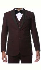 SKU#MK427 Mens Burgundy Seacrest Style 2 Piece Slim Fit Tuxedo Alta-Moda Wine Maroon