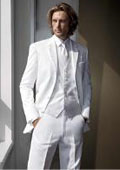 Satin Notch Lapels White Tuxedo With Vest $150