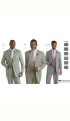Mens Grey ~ Gray Vested 3 piece Plaid Windowpane Suit Come in Yellow$250