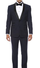 SKU#MK460 Mens Slim Fit 1 Button Shawl Collar Dinner Jacket Blazer Sport Coat Black Lapeled Matching Pants Navy Blue With Black