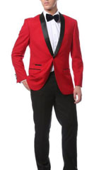 SKU#MK462 Mens Slim Fit 1 Button Shawl Collar Dinner Jacket Blazer Sport Coat Black Lapeled Matching Pants Red With Black