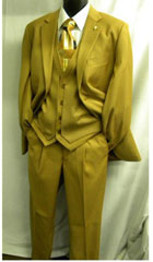 Mens Falcone Burt Vested Mustard 2 Button Suit Gold ~ Yellow ~ Canary $199