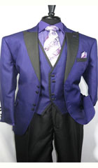 SKU#MK485 Men's House of Benets Vested Suit with 4-Button, Single-Breasted, double-vented Jacket Diamond Cut Fabric with Black Lapel and Black Buttons For Accent Purple $149