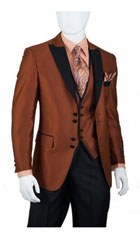 SKU#MK486 Men's House of Benets Vested Suit with 4-Button, Single-Breasted, double-vented Jacket Diamond Cut Fabric with Black Lapel and Black Buttons For Accent Rust