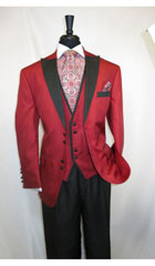 SKU#MK487 Men's House of Benets Vested Suit with 4-Button, Single-Breasted, double-vented Jacket Diamond Cut Fabric with Black Lapel and Black Buttons For Accent Red Fire