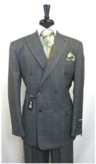 SKU#MK489 Men's Stacy Adams Plaid Double Breasted Men's Suit Jacket 6 by 4 buttons with Peak Lapel double vented Jacket Grey $199