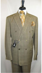 SKU#ML737 Men's Stacy Adams Plaid Double Breasted Men's Suit Jacket 6 by 4 buttons with Peak Lapel Double vented Jacket Taupe $199