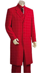 SKU#MK496 Mens Red Ton on Ton Shadow Stripe Window Pane Plaid Zoot Vested 3 Piece Suit $175