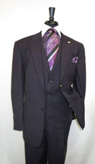 Men's Suit Single Breasted 1 Button Suit Jacket with Peak Lapel Black Purple