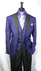 SKU#SS-74 Mens 4 Button Single Breasted Vested Suit Purple $149