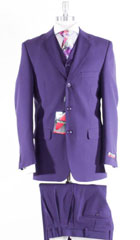 SKU#MK593 Mens 3 Piece Notch Lapel Full Side Vents Purple Suits $159
