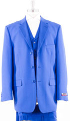 Mens 3 Piece Notch Lapel Full Side Vents Royal Blue Suits