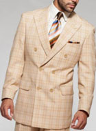 SKU#SS-85 Mens Window Pane Plaid Pattern blazer Suit Sport coat Jacket Beige ~ Tan Wool $199